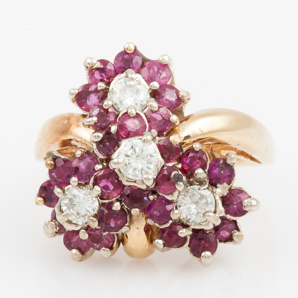 14K Yellow Gold, Ruby, and Diamond Floral Cluster Cocktail Ring