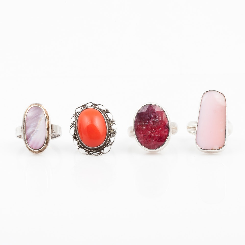 Sterling Silver Rings with Assorted Pink Stones