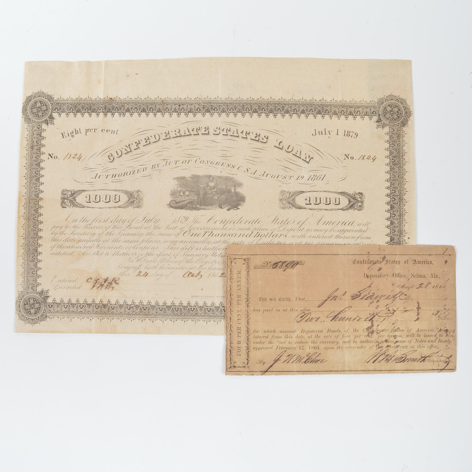 Antique Confederate Bearer Bond