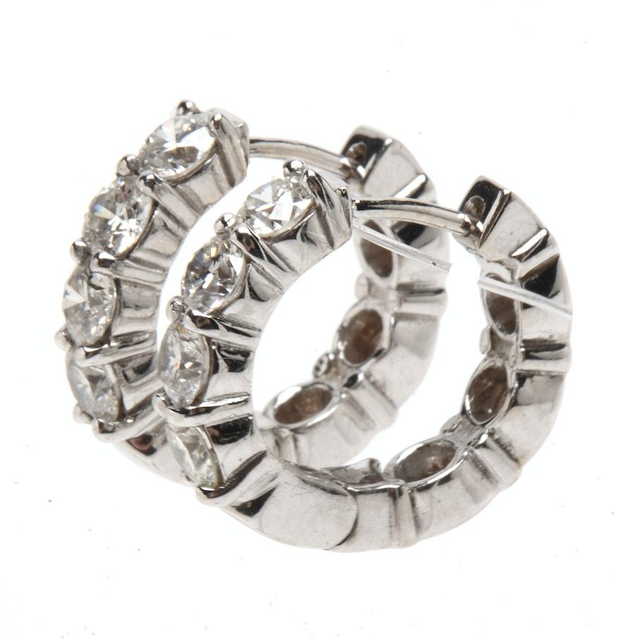 Pair Of 14k White Gold Diamond Huggie Hoop Earrings