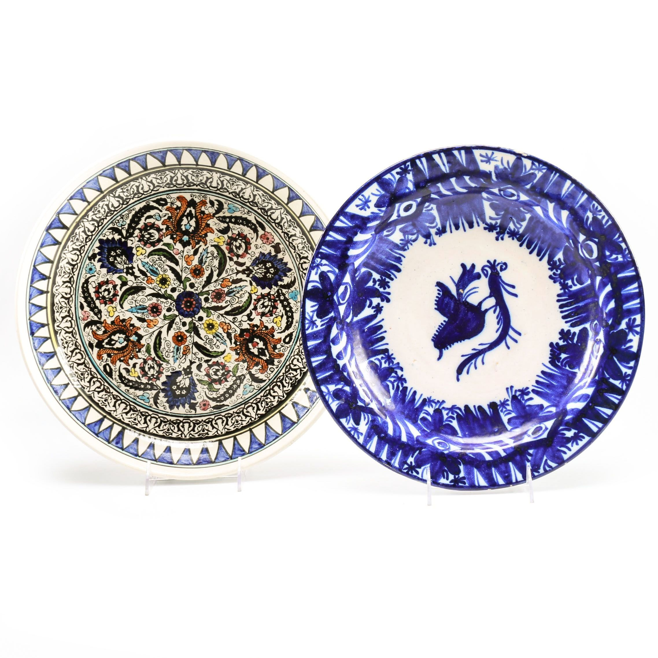 Decorative Hand-Painted Rimmed Bowl and Platter