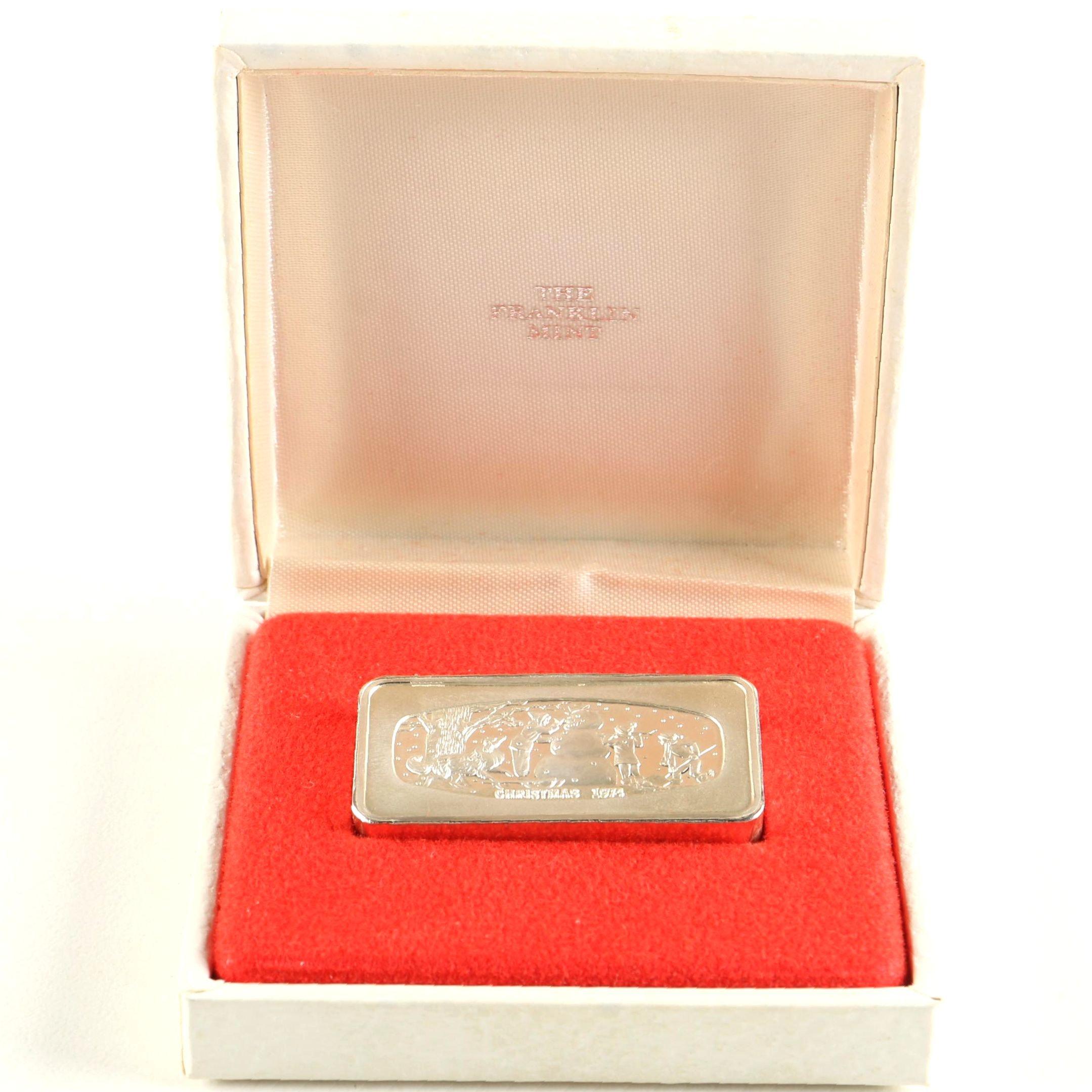 1974 Franklin Mint Christmas Sterling Silver Ingot