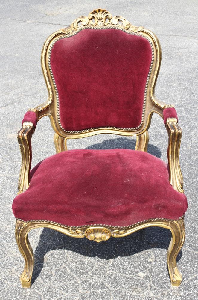 Pair Of Vintage Louis Xv Style Armchairs Ebth