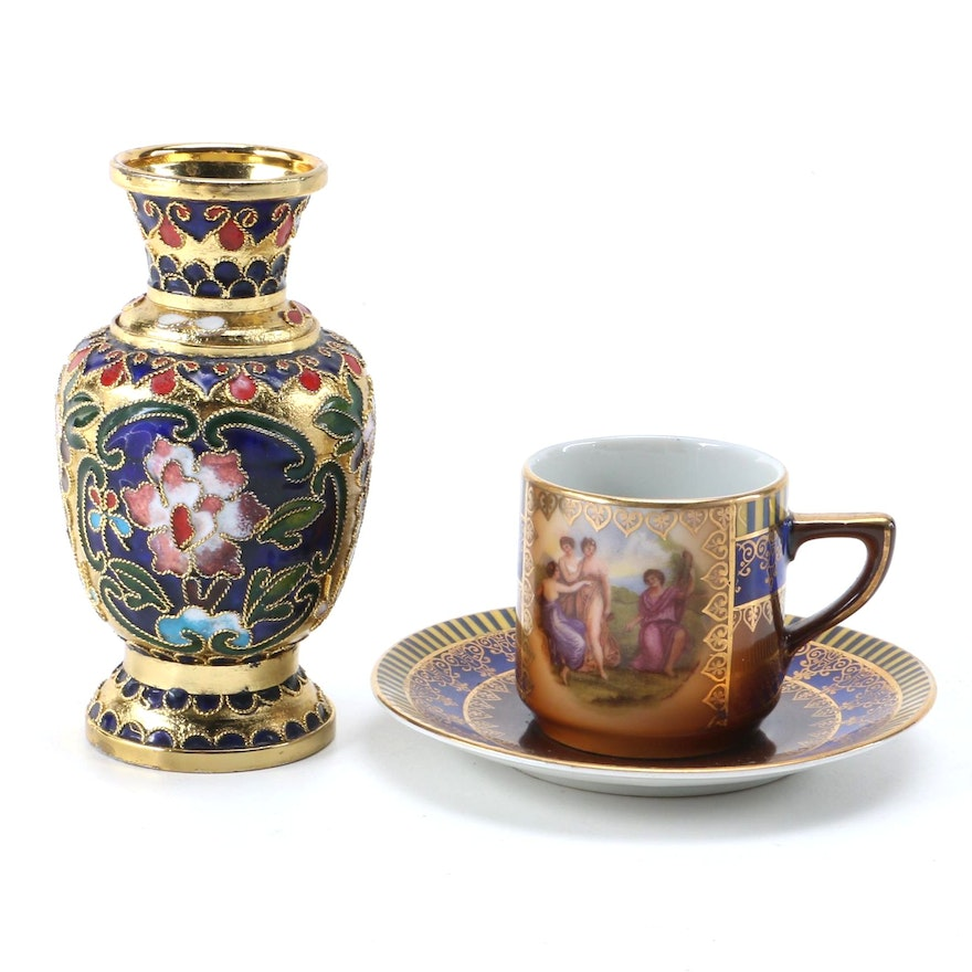 Cloisonne Style Vase And Miniature Teacup And Saucer Ebth