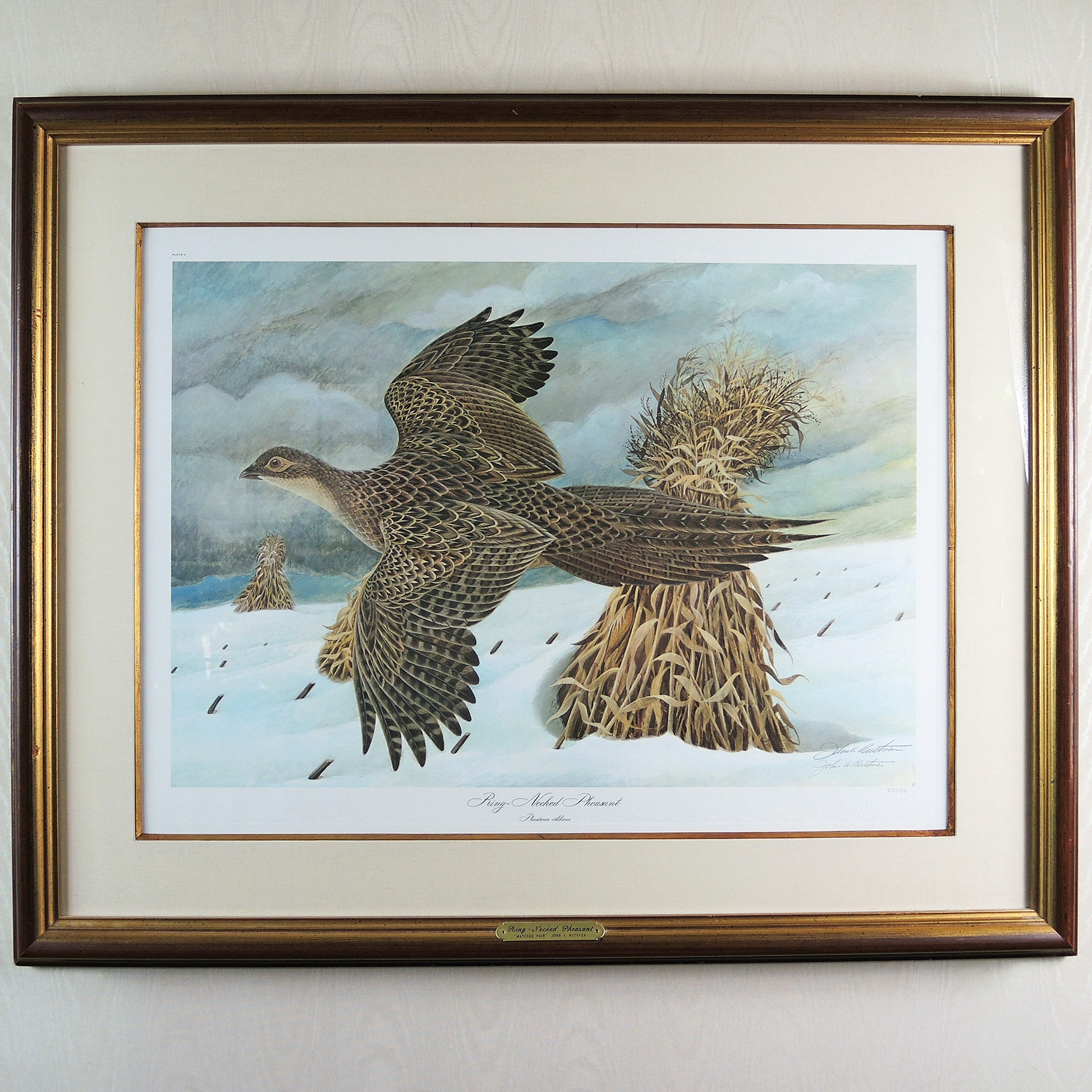 "John A. Ruthven Signed Offset Lithograph ""Ring-Necked Pheasant: Matched Pair"""