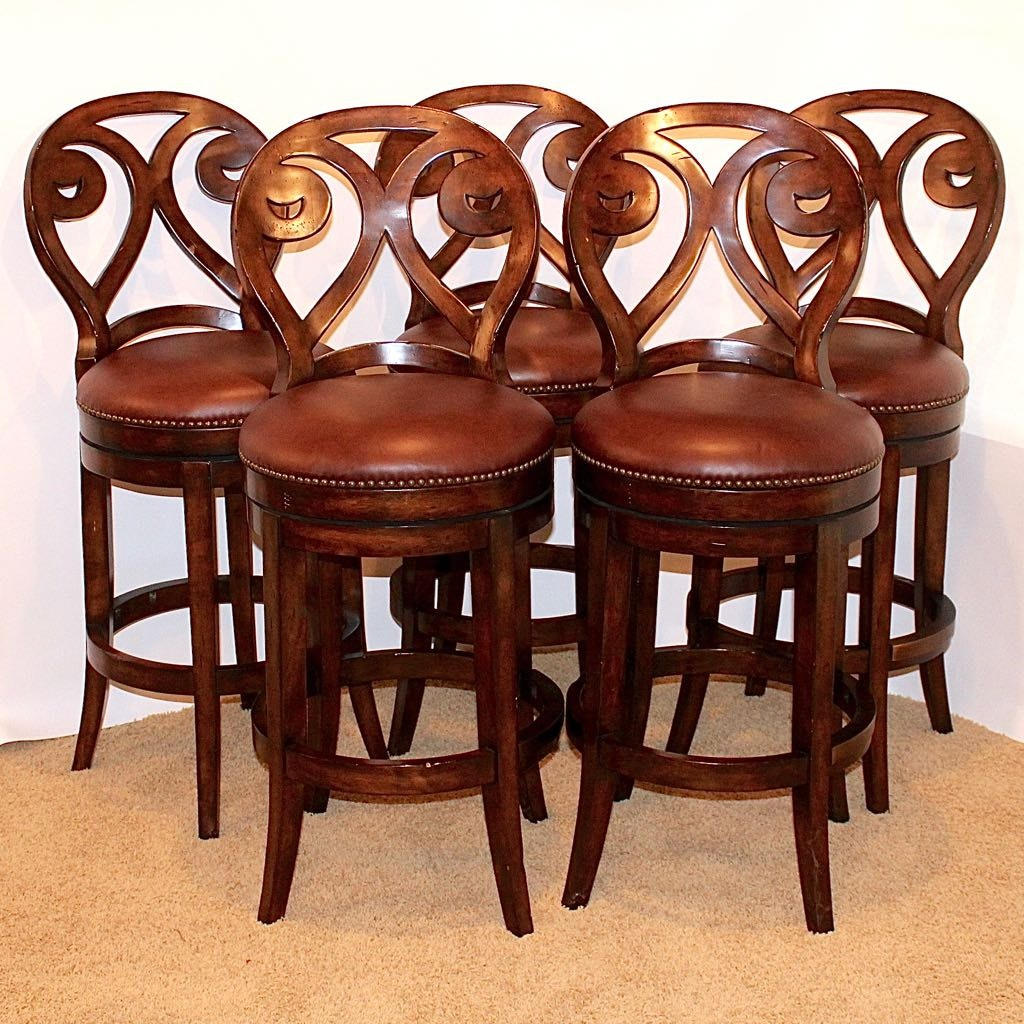 "Five Artistica ""Marquess"" Leather Seat Swivel Barstools"