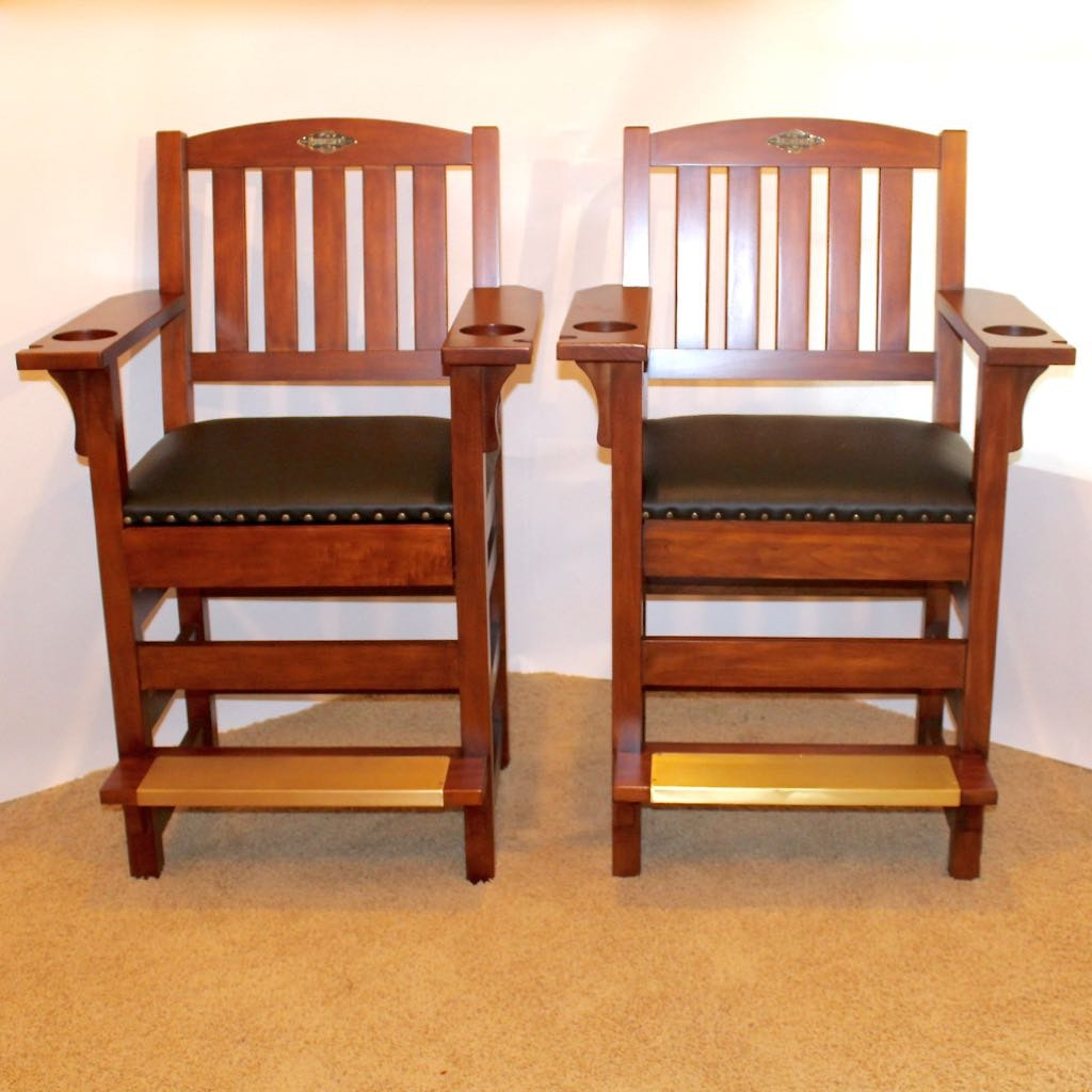 Two Brunswick Wood and Leather Billiards Chairs ... & Two Brunswick Wood and Leather Billiards Chairs : EBTH