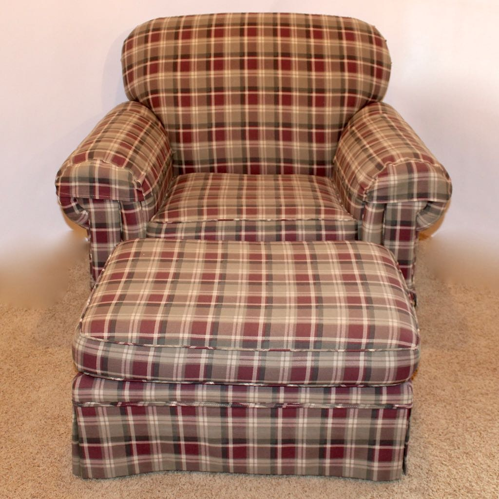 Oversize Plaid Upholstered Easy Chair + Ottoman