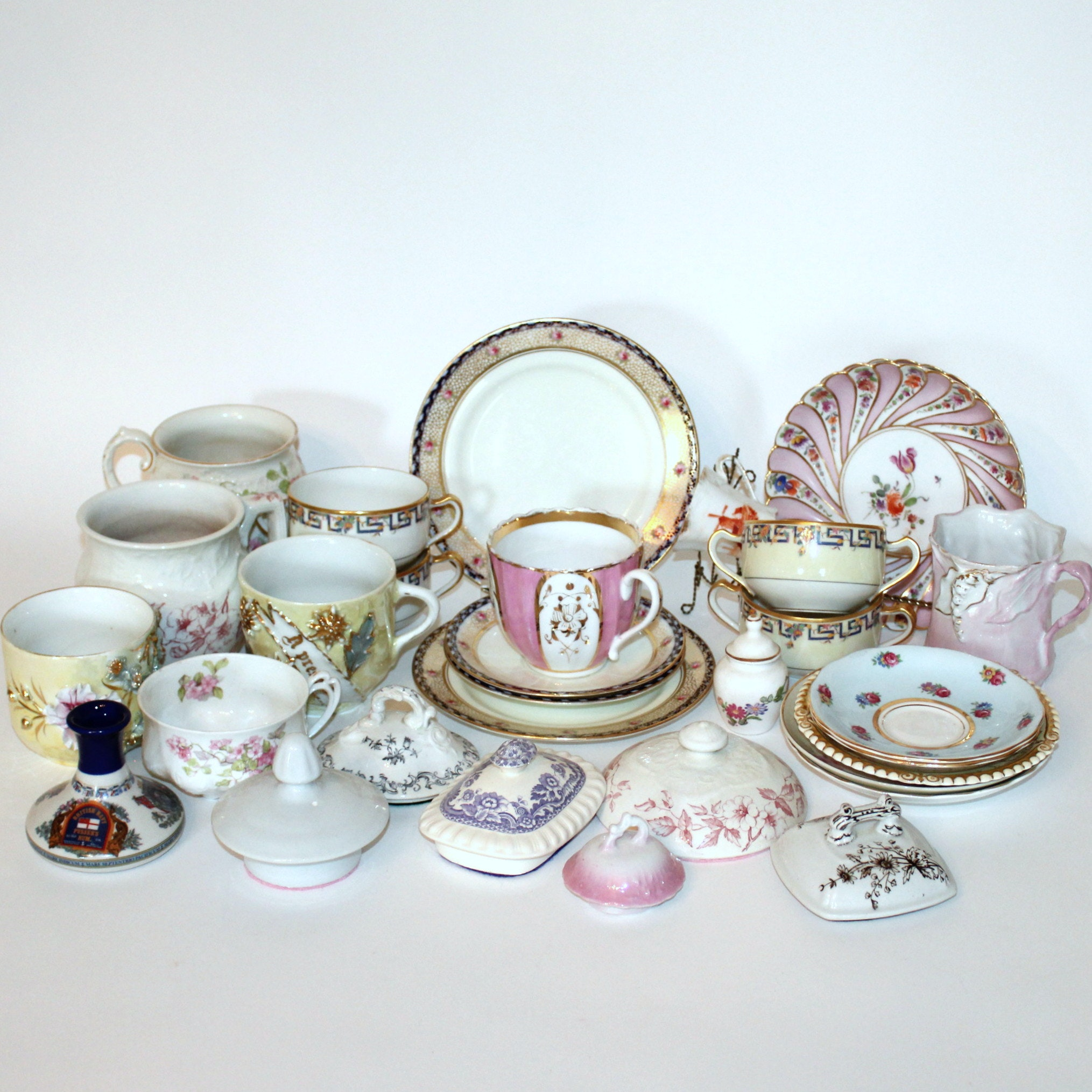 Assortment of Vintage and Antique Mismatched China
