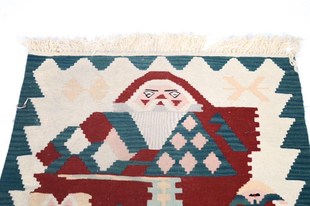 Handwoven Turkish Kilim Santa Claus Rug Ebth