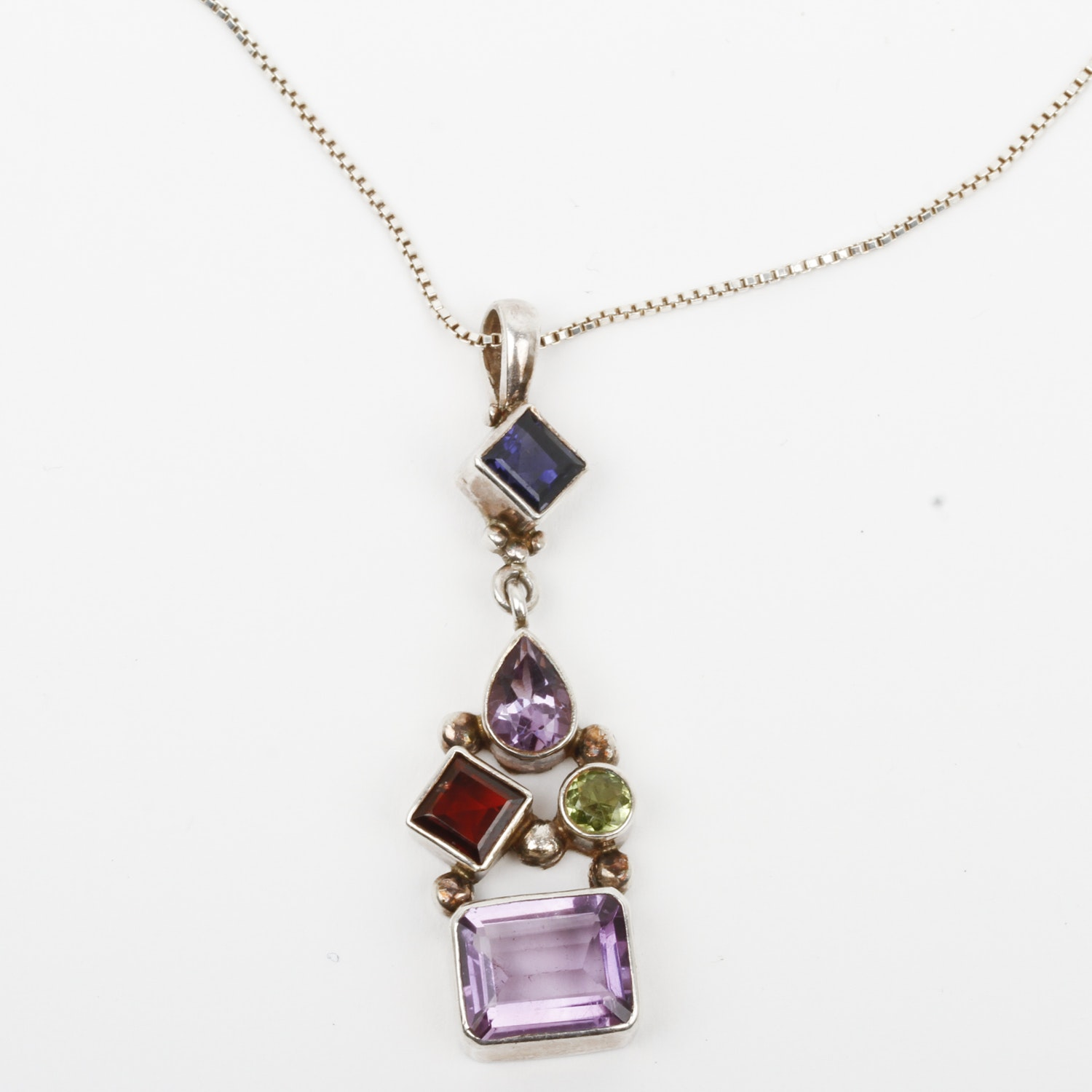 Sterling Silver and Multi-Stone Pendant Necklace