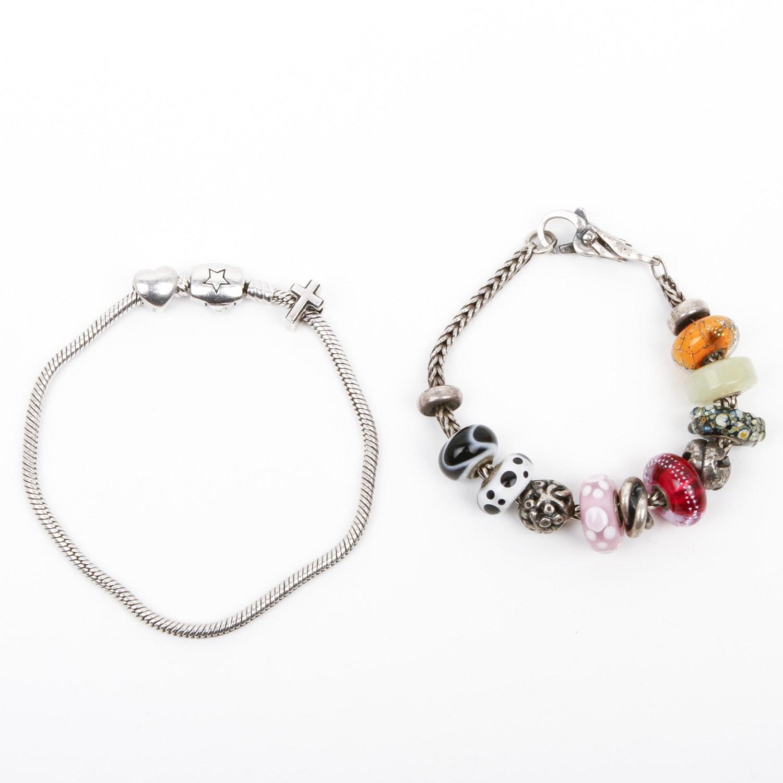 Two Sterling Silver Bracelets Including Donatella
