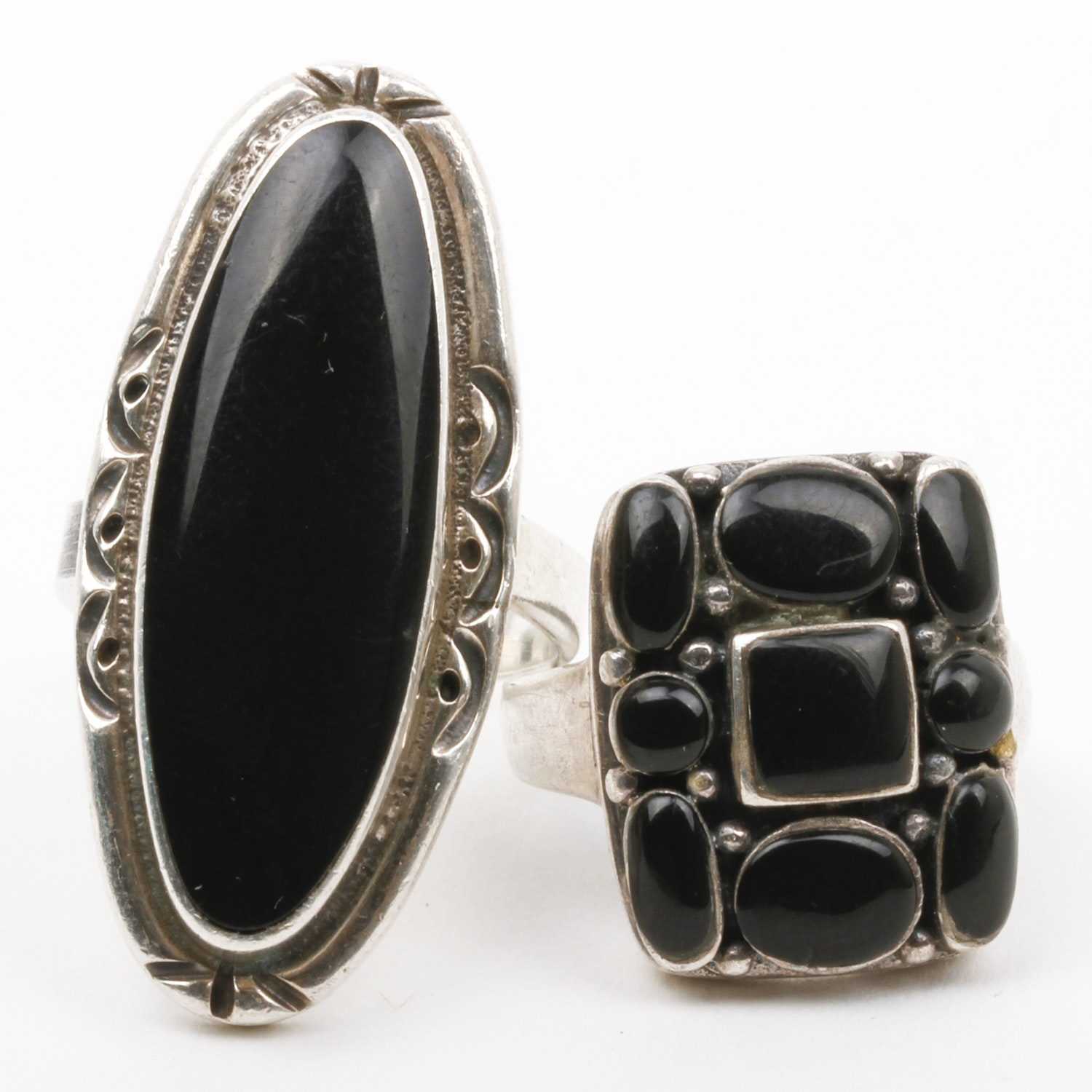 Pair of Sterling Silver and Onyx Statement Rings