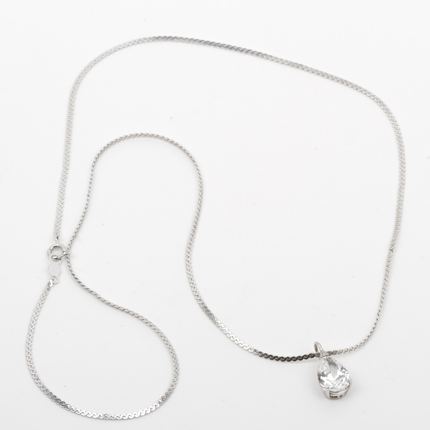 14K White Gold and White Spinel Pendant Necklace