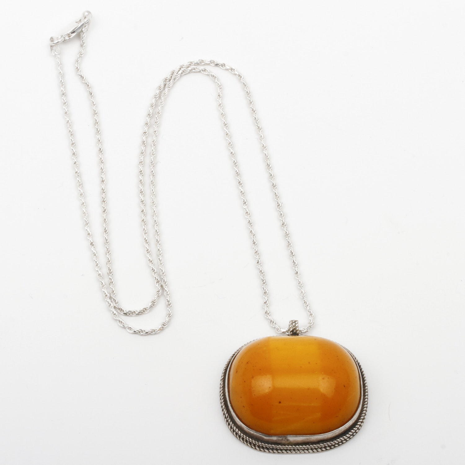 Vintage Sterling Silver and Butterscotch Amber Pendant Necklace