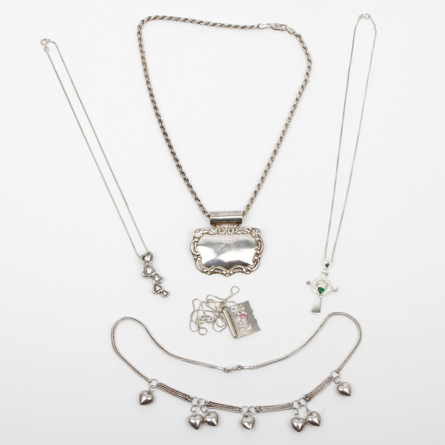Assortment of Sterling Silver Pendant Necklaces