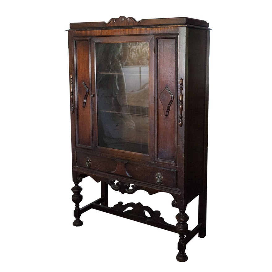 Vintage Jacobean Style China Cabinet ... - Vintage Jacobean Style China Cabinet : EBTH