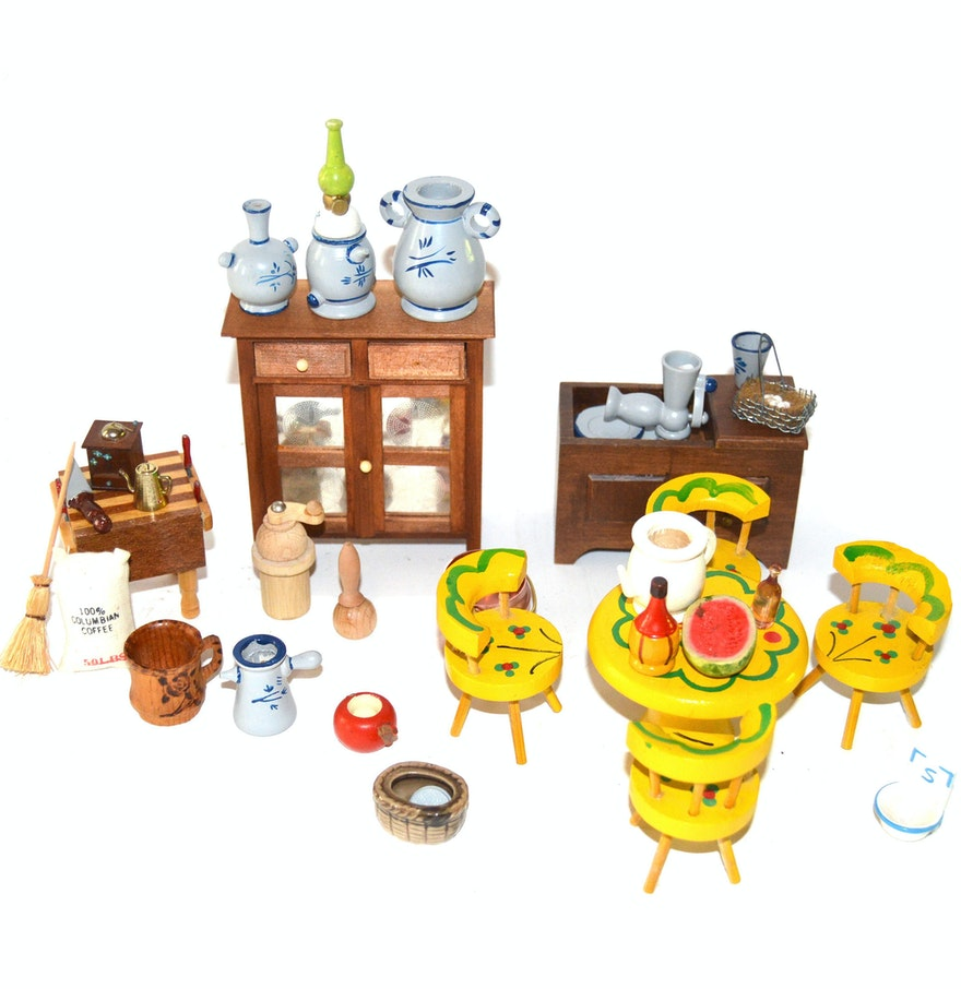 Dolls House Kitchen Furniture Collection Of Vintage Doll House Kitchen Furniture Ebth