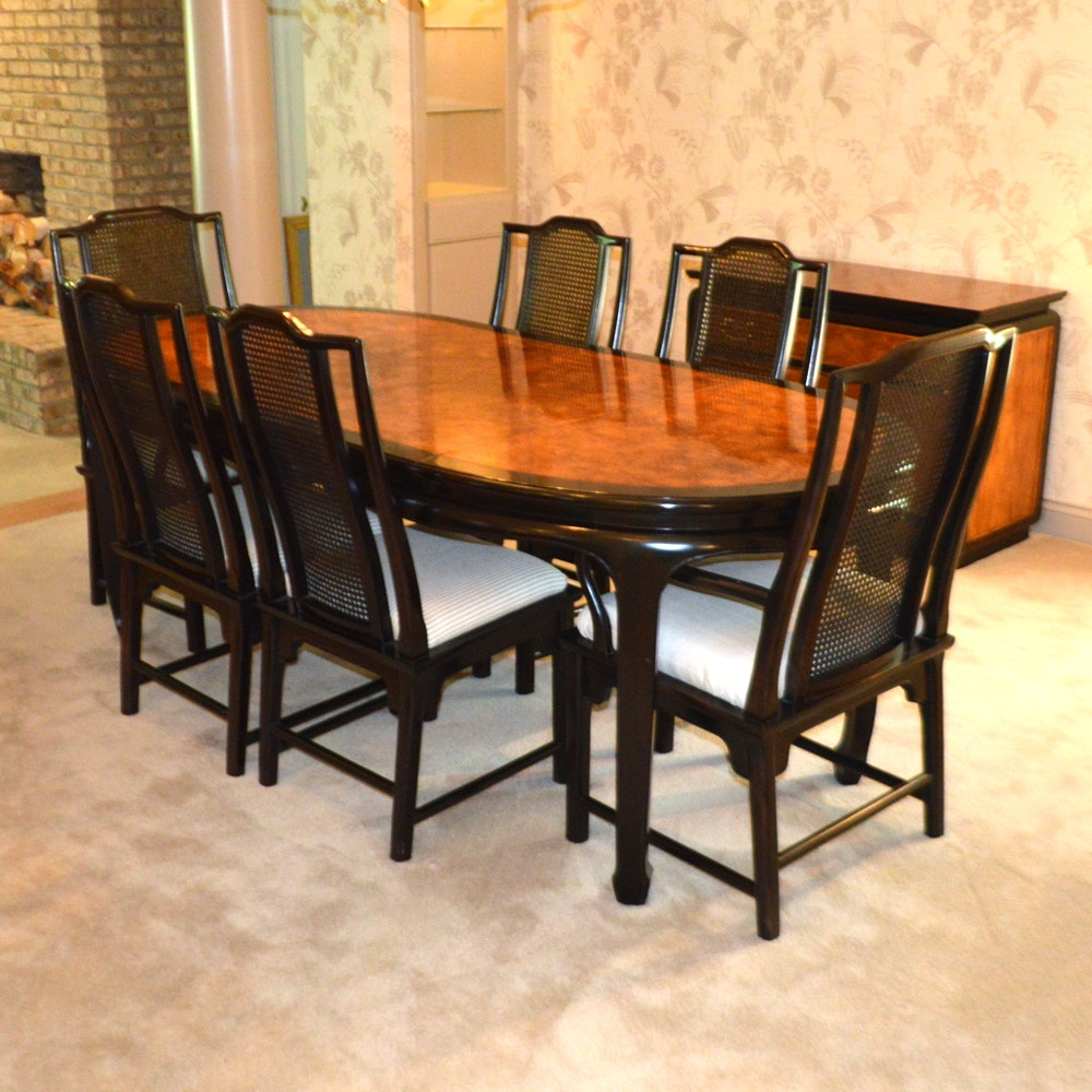 Beau Century Furniture Asian Inspired Dining Table And Six Chairs ...