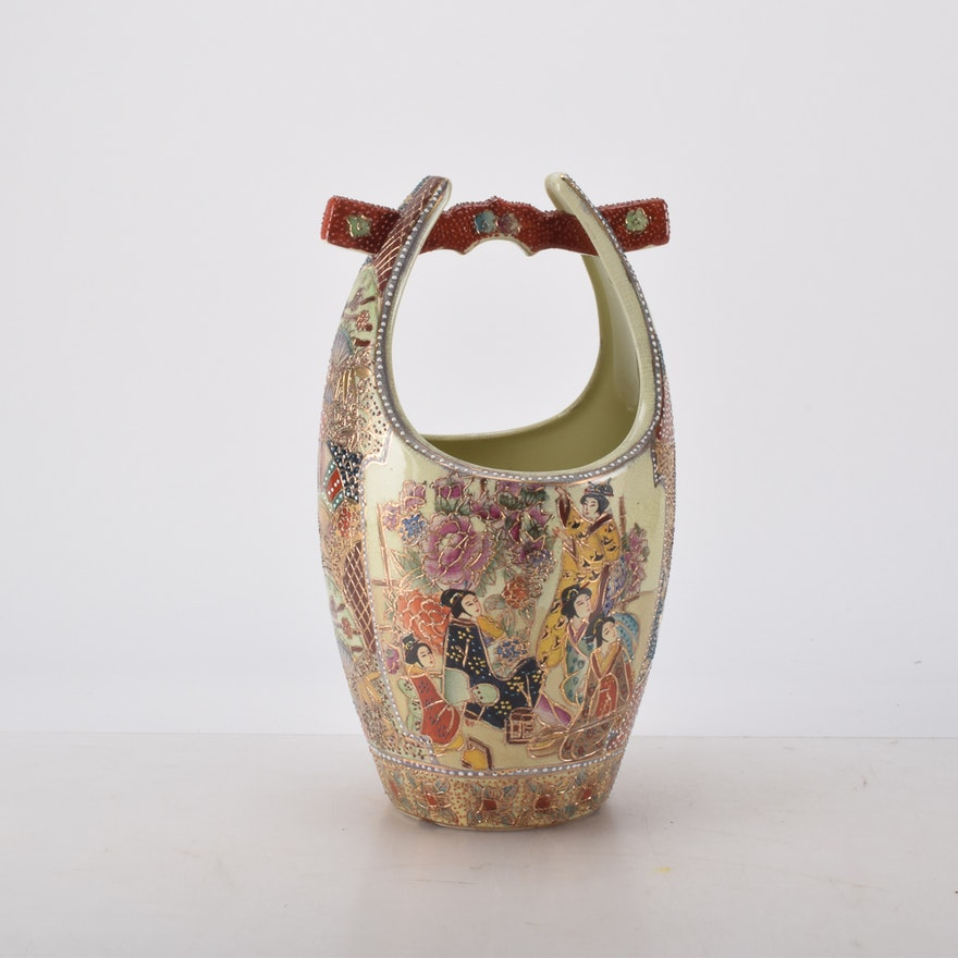 Hand Painted Chinese Royal Satsuma Vase With Handle Ebth