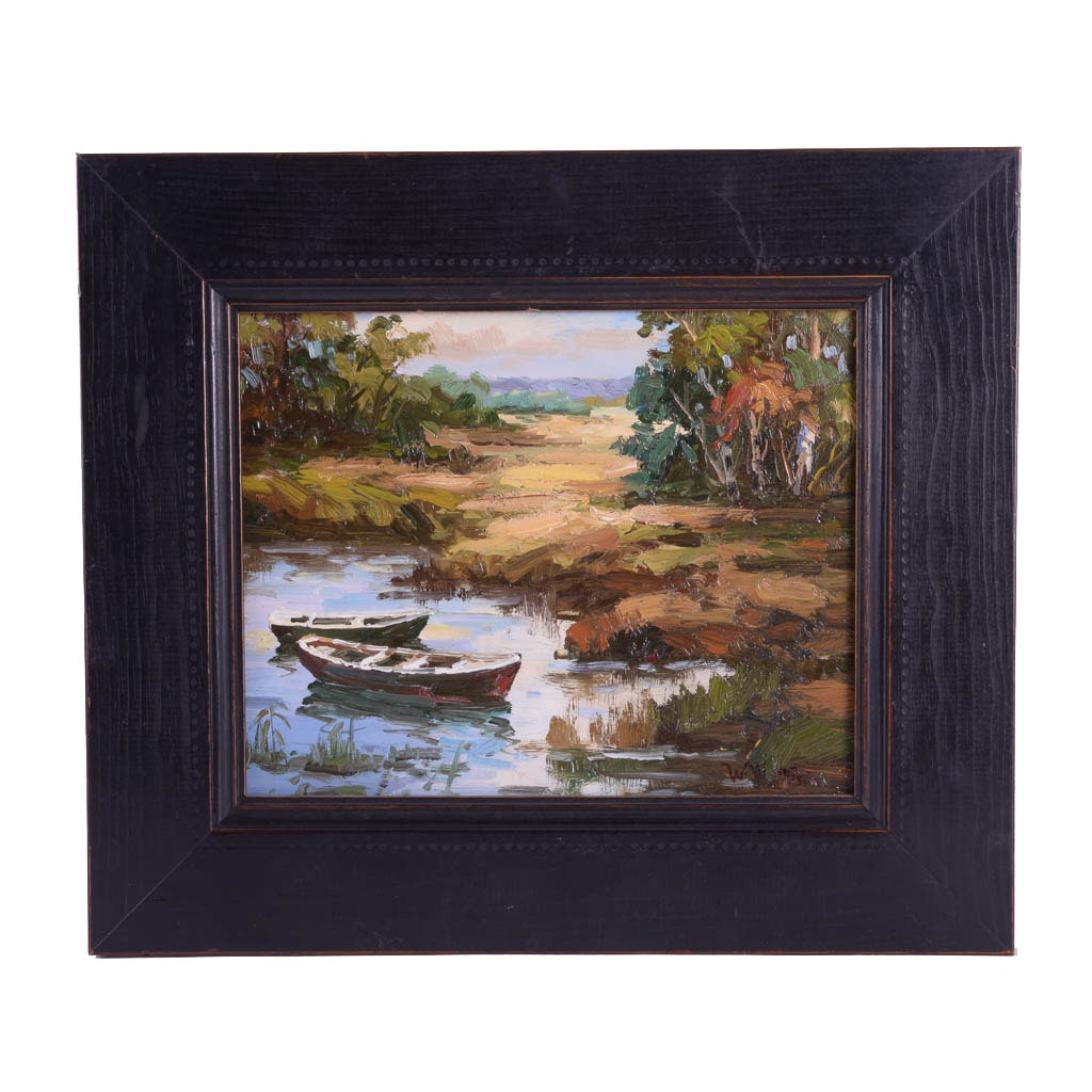 """W. Wong Original Oil Painting On Canvas """"Boats"""""""