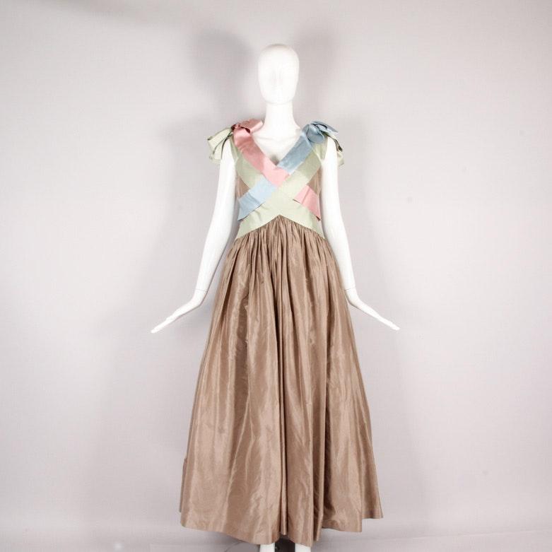 Vintage Bill Blass Satin Evening Gown