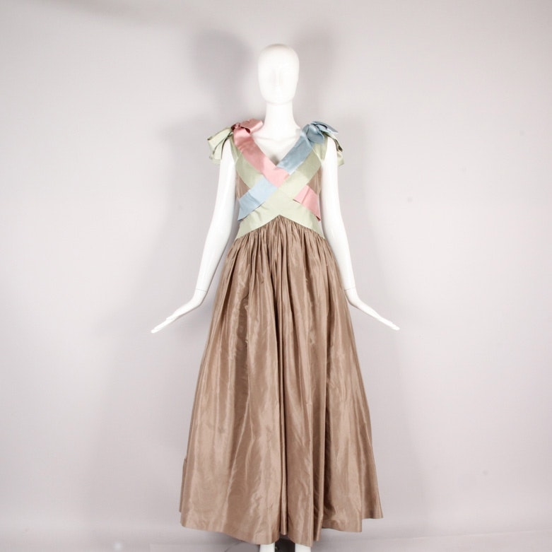 Vintage Bill Blass Satin Evening Gown