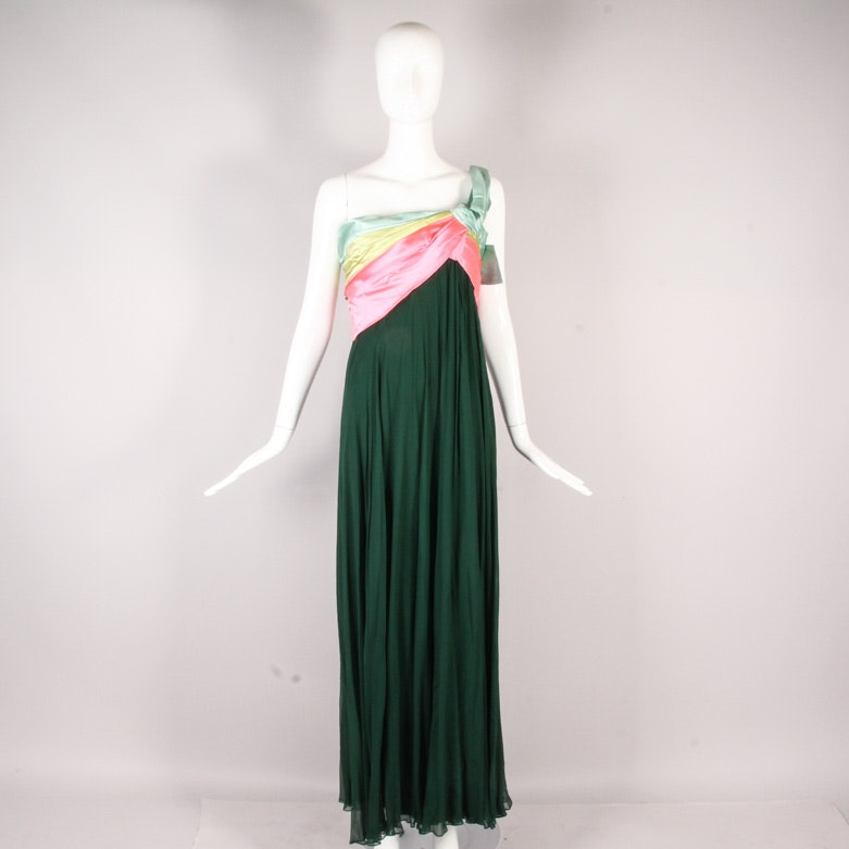 1970s Donald Brooks Single Shoulder Satin and Chiffon Evening Gown with Bow
