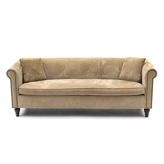 Contemporary Herringbone Microfiber Sofa By Martha Stewart