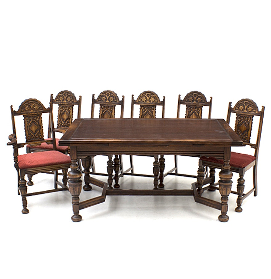 Vintage Oak Dining Table Vintage Jacobean Style Oak Dining Table And Chairs Ebth