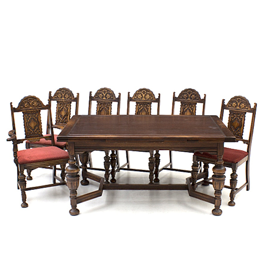Bernhardt Furniture Jacobean Style Oak Dining Table And
