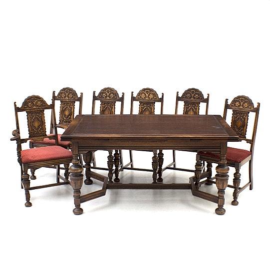 Bernhardt Furniture Jacobean Style Oak Dining Table and Chairs ...  sc 1 st  EBTH.com & Bernhardt Furniture Jacobean Style Oak Dining Table and Chairs : EBTH