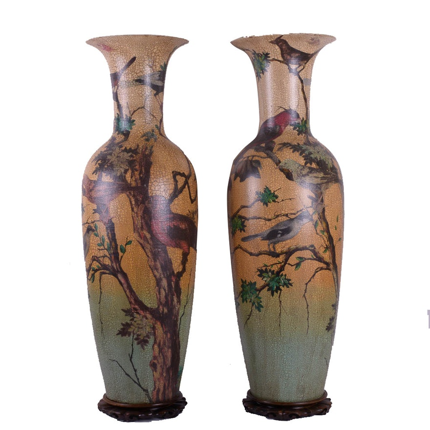 Pair Of Large Decorative Bird Themed Vases With Stands