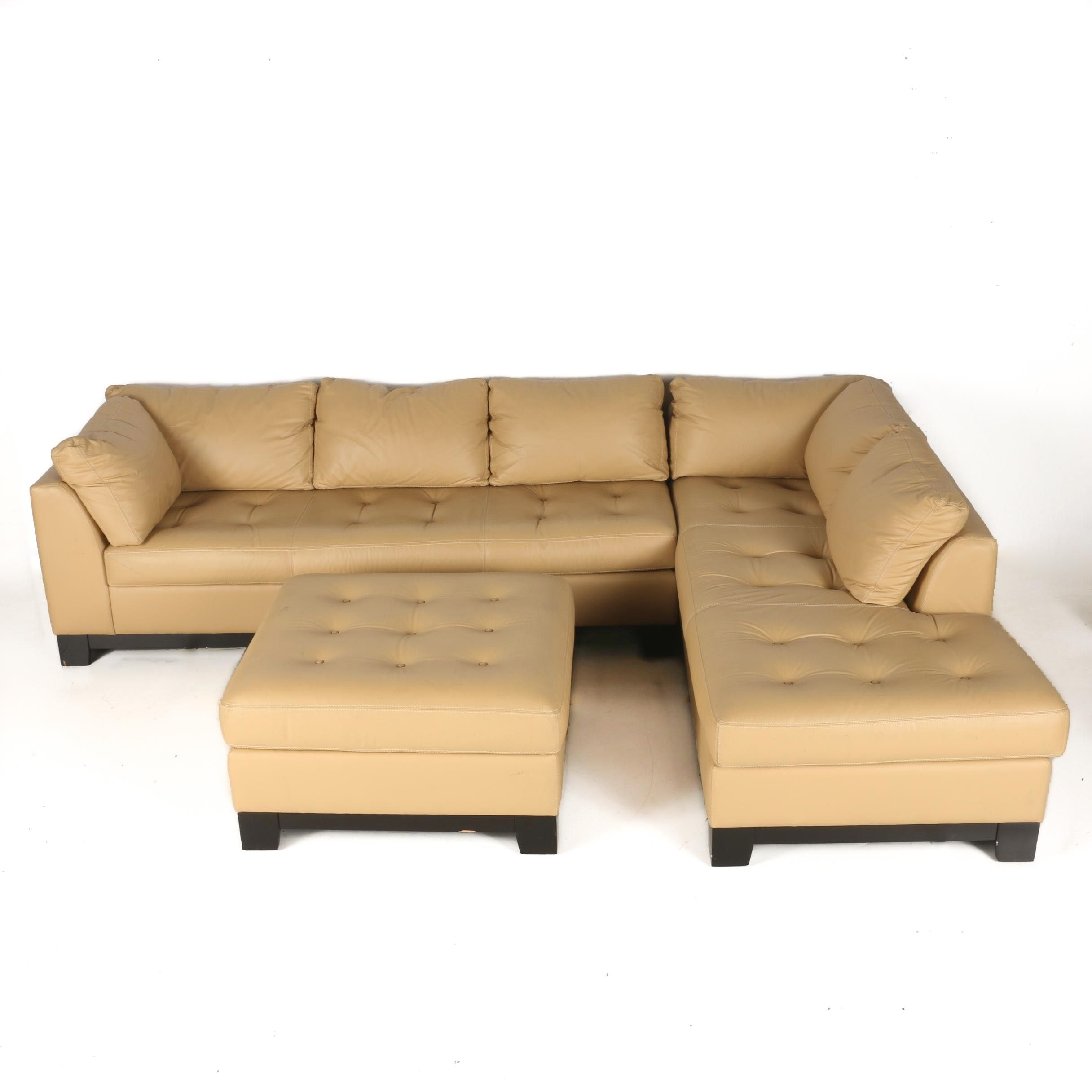 Elite Leather Sectional Sofa And Ottoman ...