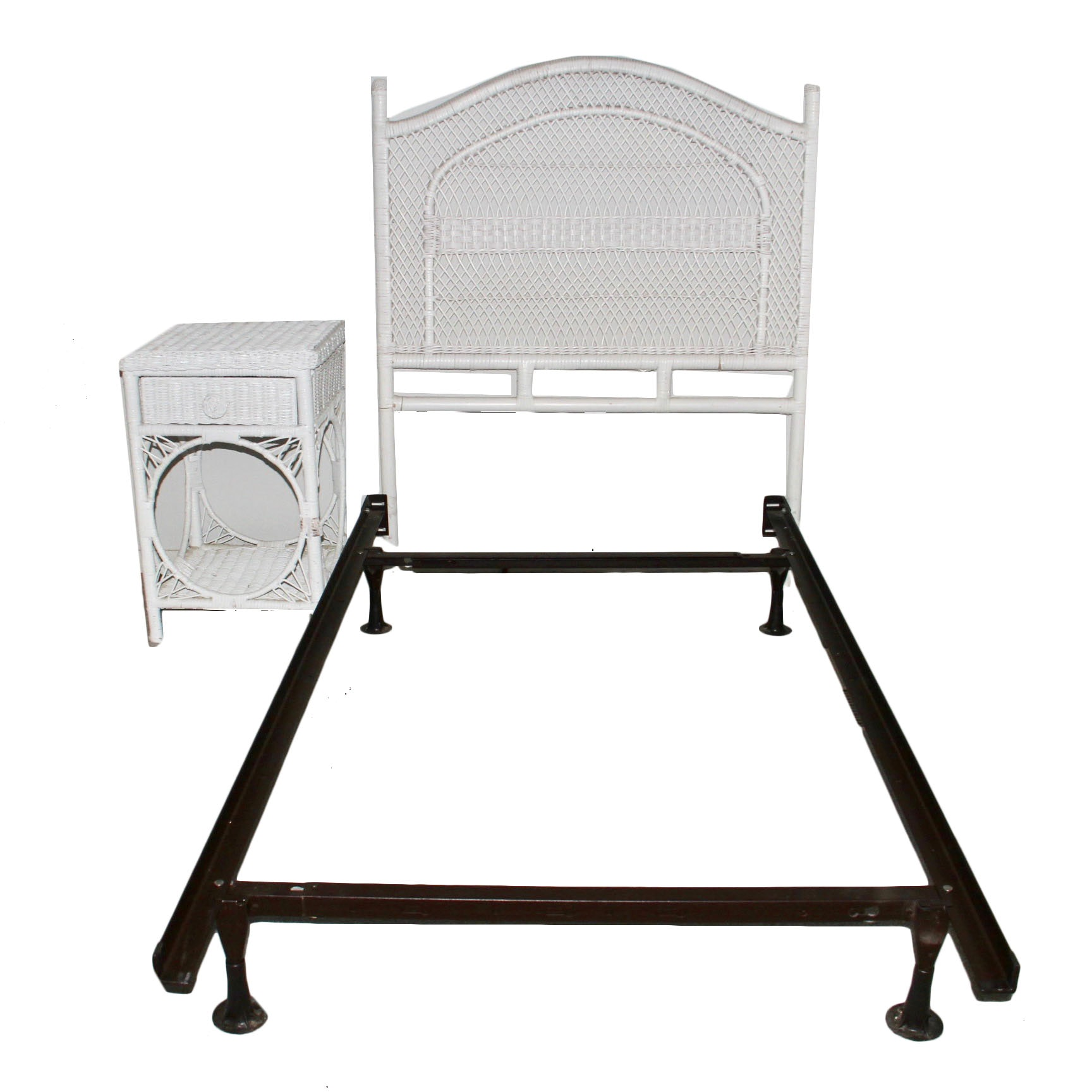 wicker twin size metal bed frame with headboard and nightstand