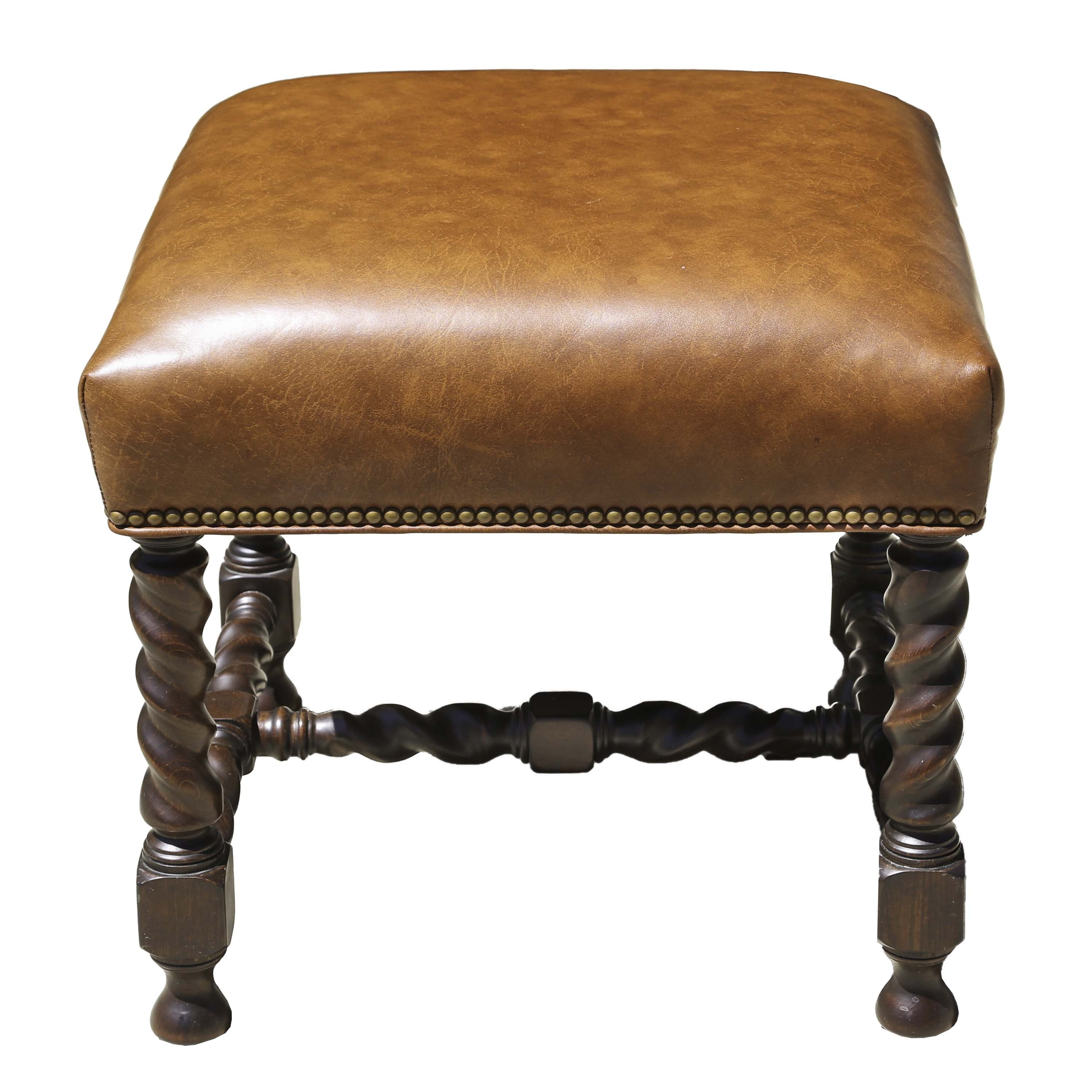 Leather Upholstered Ottoman with Brass Nail Head Detailing