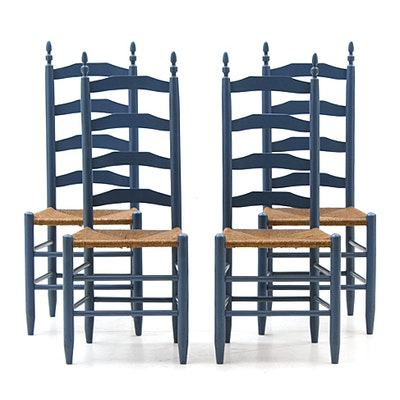 Set of Vintage Rush Seat Dining Chairs