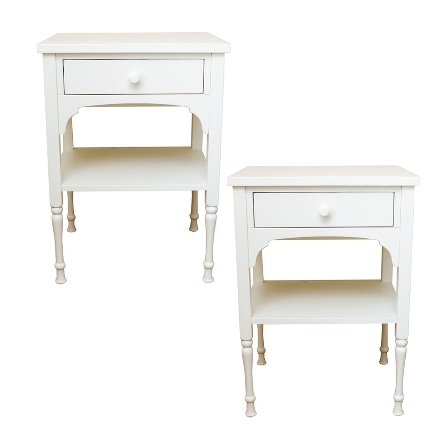 Adelle Bedside Tables By Pottery Barn EBTH - Pottery barn white bedside table