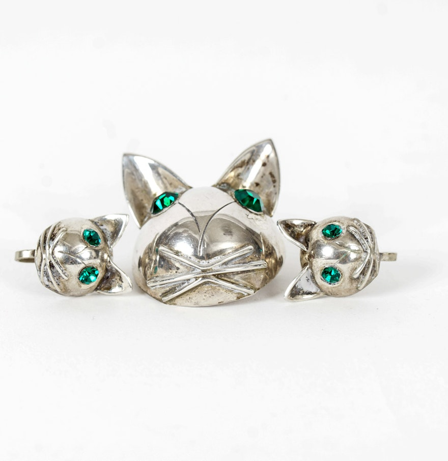 Sterling Silver Cat Earrings And Matching Pin