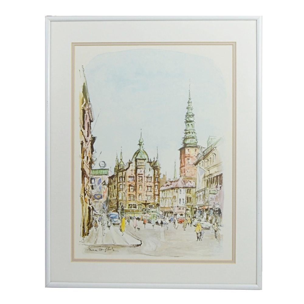 European Cityscape Offset Lithograph