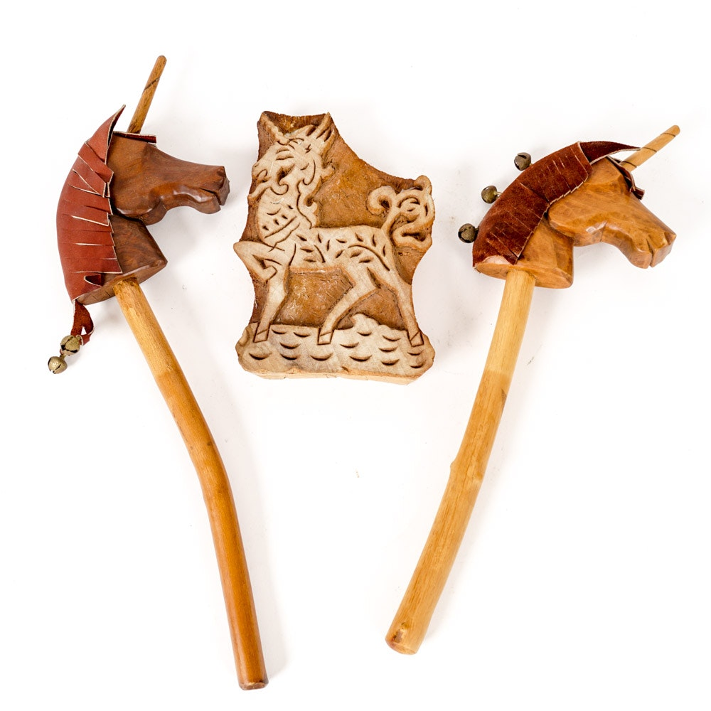 Pair of Wooden Unicorn Puppets and Carving