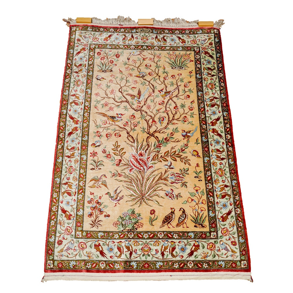 Signed Handwoven Persian Silk Area Rug