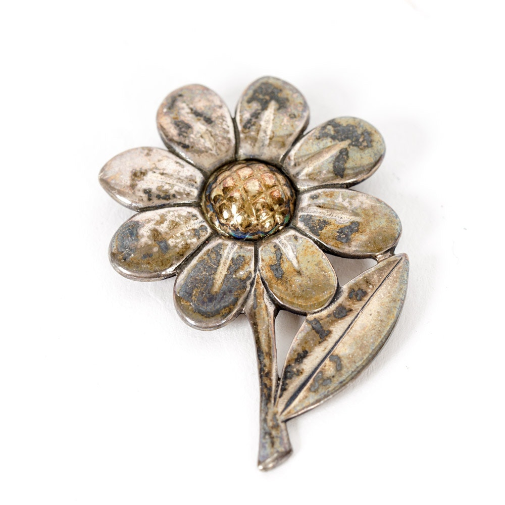 Avery Sterling and 14K Gold Brooch