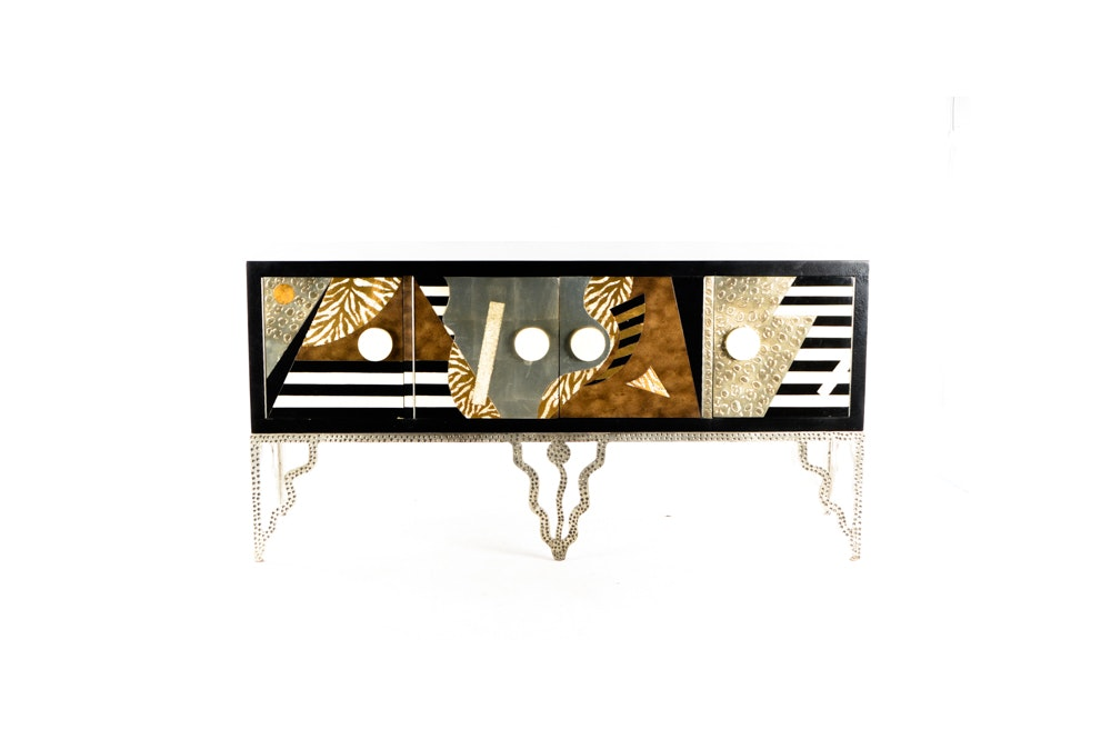 Post Modern Steel and Mixed Wood/Media Console Table