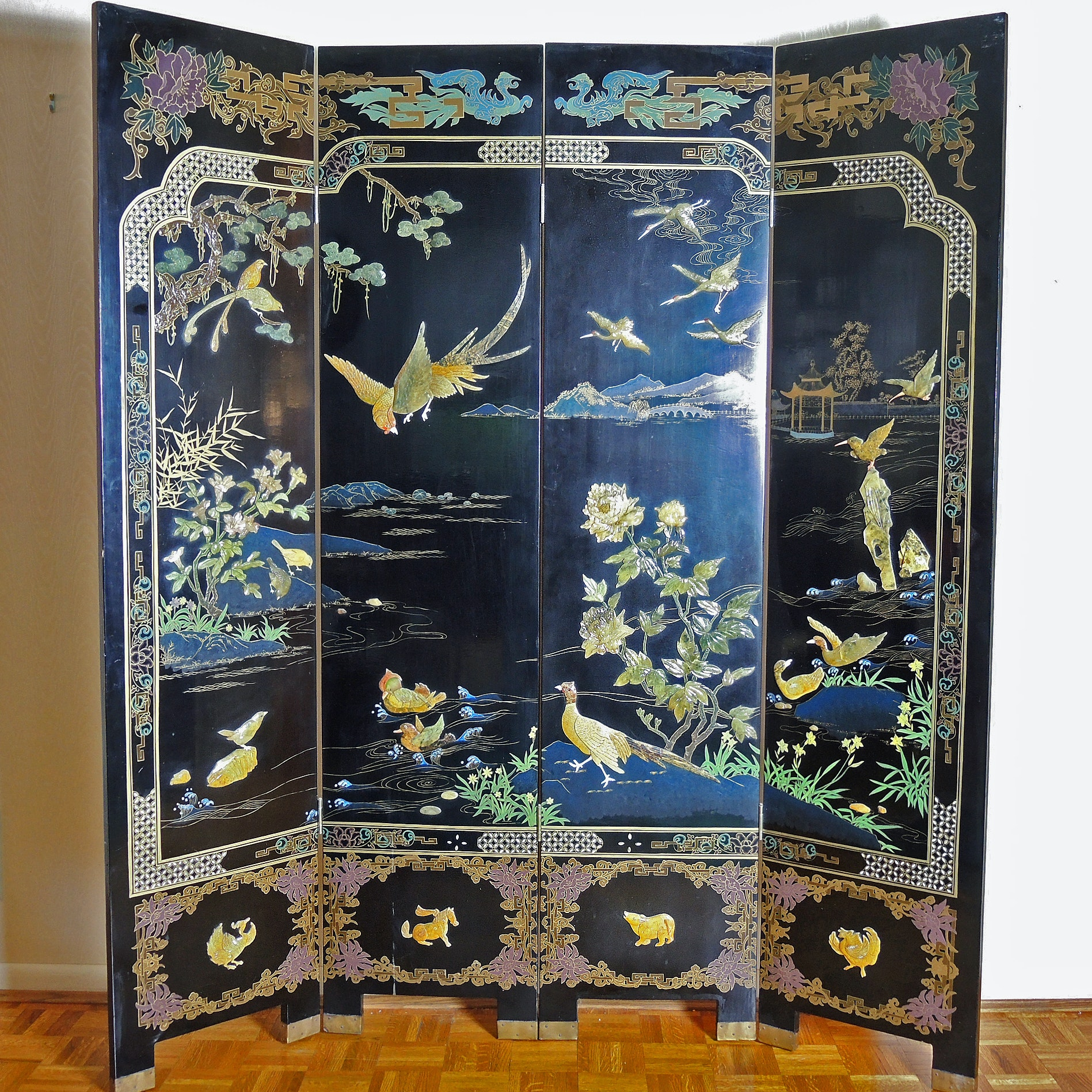 Vintage Chinese Four-Panel Screen With Applied Soapstone Carvings