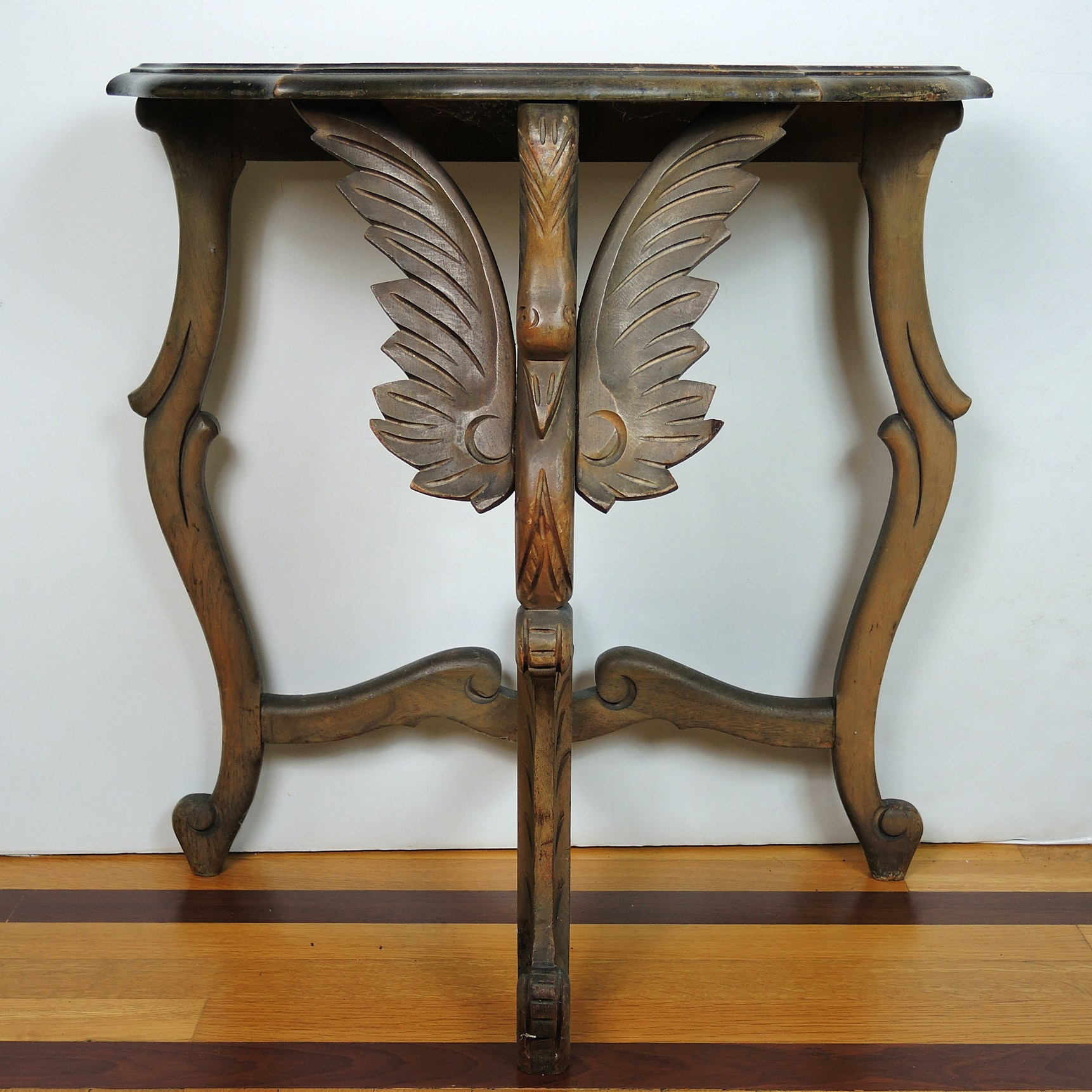 Vintage Demilune Table With Carved Bird Motif