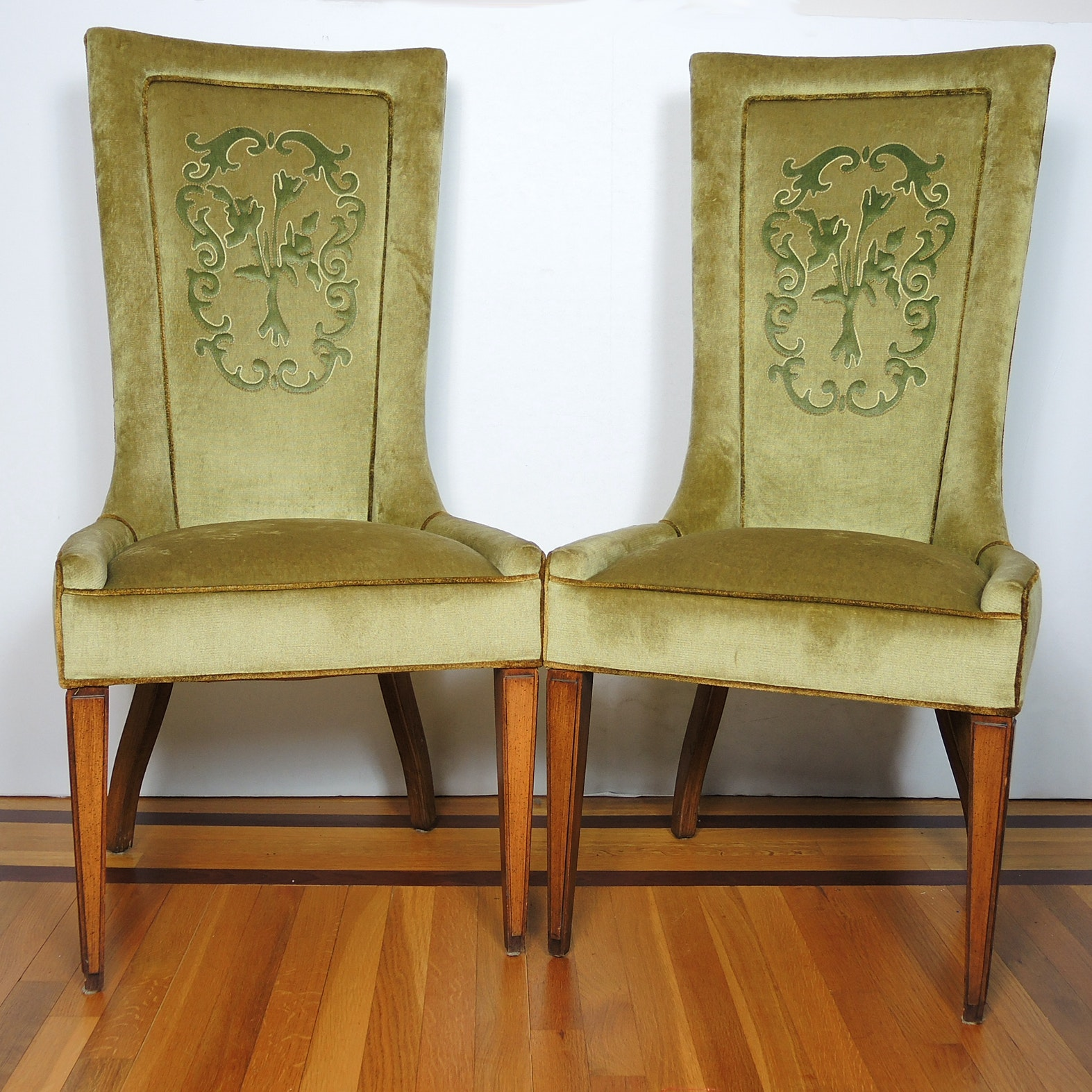 Pair of Velvet High-back Chairs