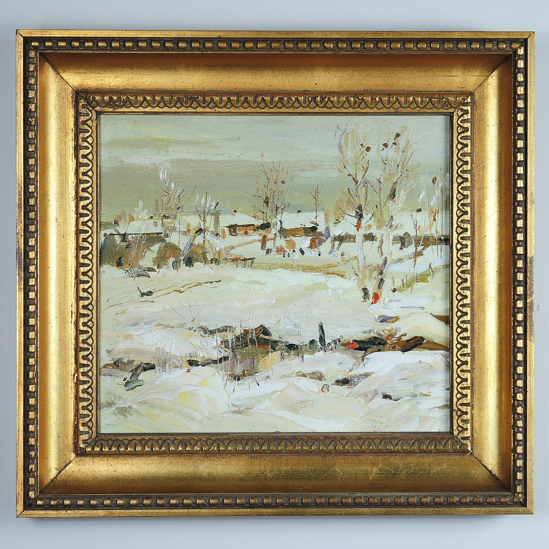 "Konstantin Savchenko Oil on Canvas ""Village in Winter"""