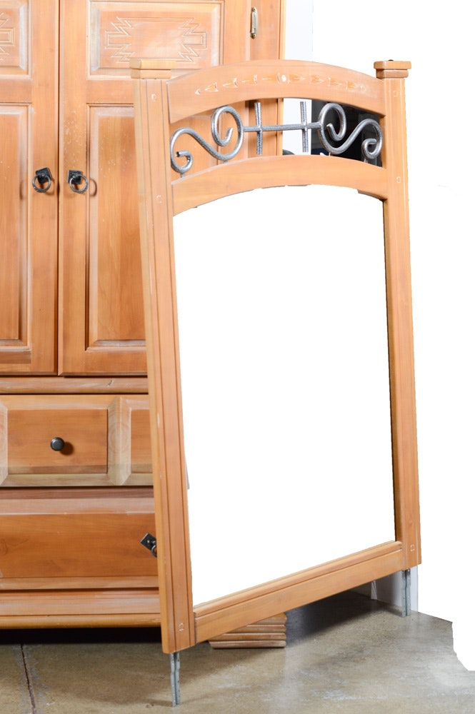 Mirrored Pine Dresser And Armoire Ebth