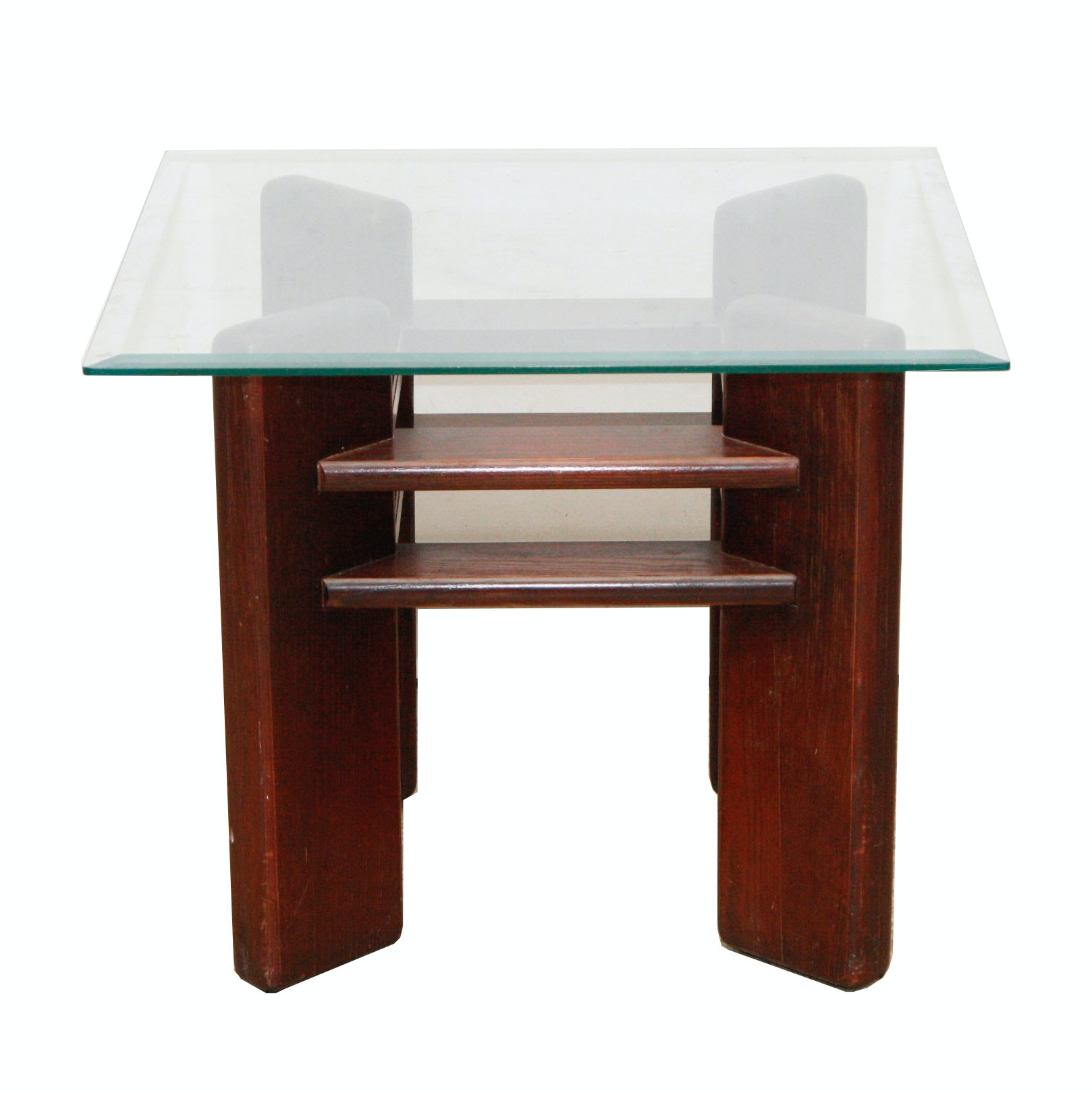 Modernist Style Wood and Glass End Table